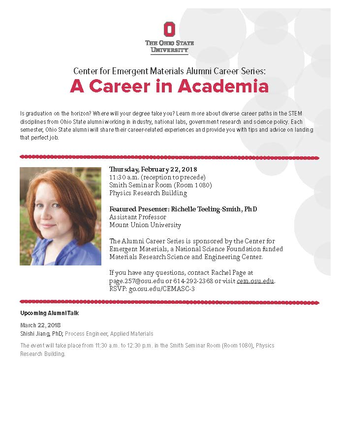 Alumni Career Series: Richelle Teeling-Smith (Mount Union University) @ Smith Seminar Room 1080, Physics Research Building | Columbus | Ohio | United States