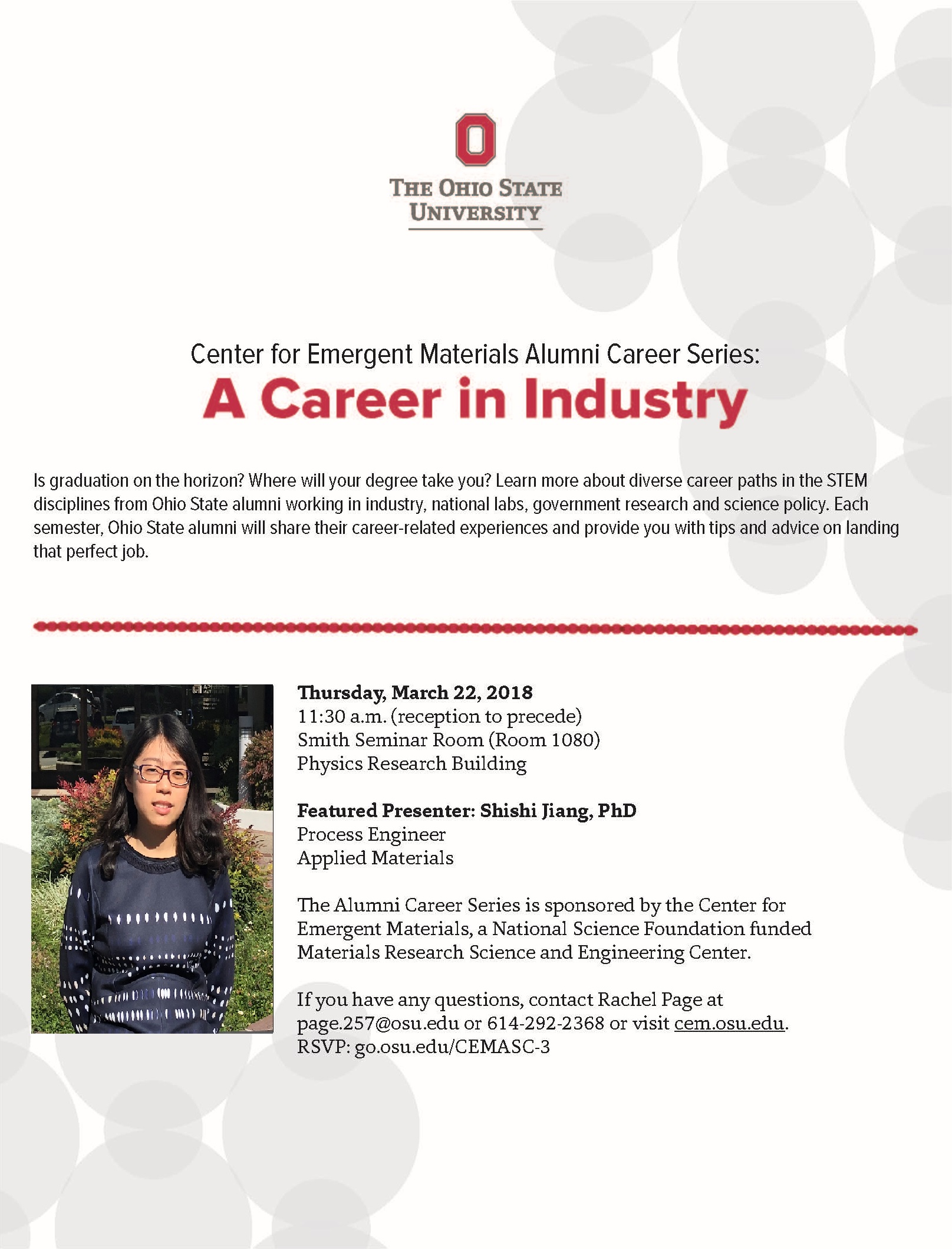 Alumni Career Series: Shishi Jiang (Applied Materials) @ Smith Seminar Room 1080, Physics Research Building | Columbus | Ohio | United States